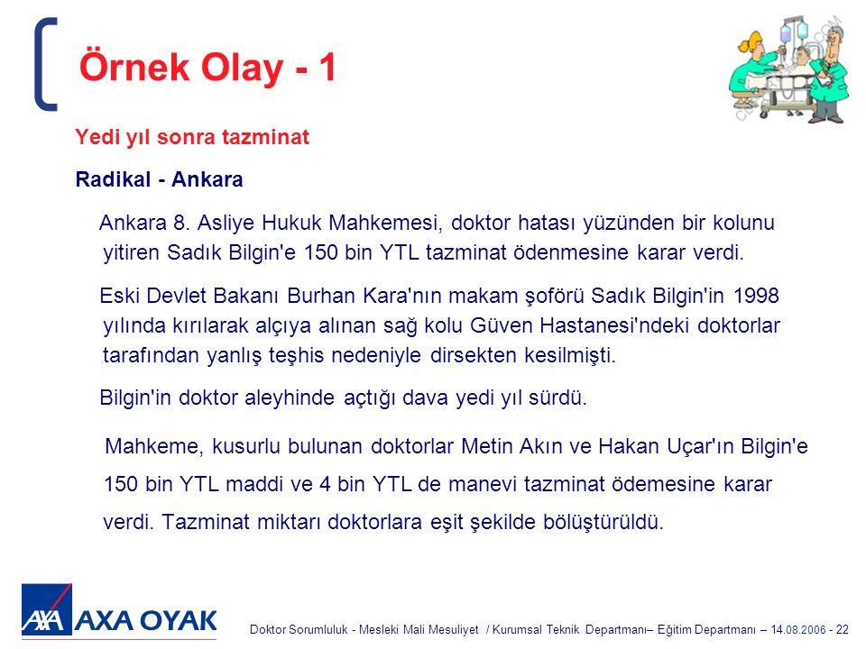 Örnek Olay - 1 Yedi yıl sonra tazminat Radikal - Ankara