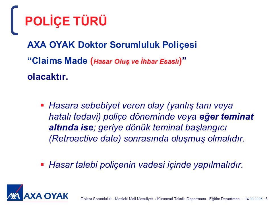 POLİÇE TÜRÜ AXA OYAK Doktor Sorumluluk Poliçesi