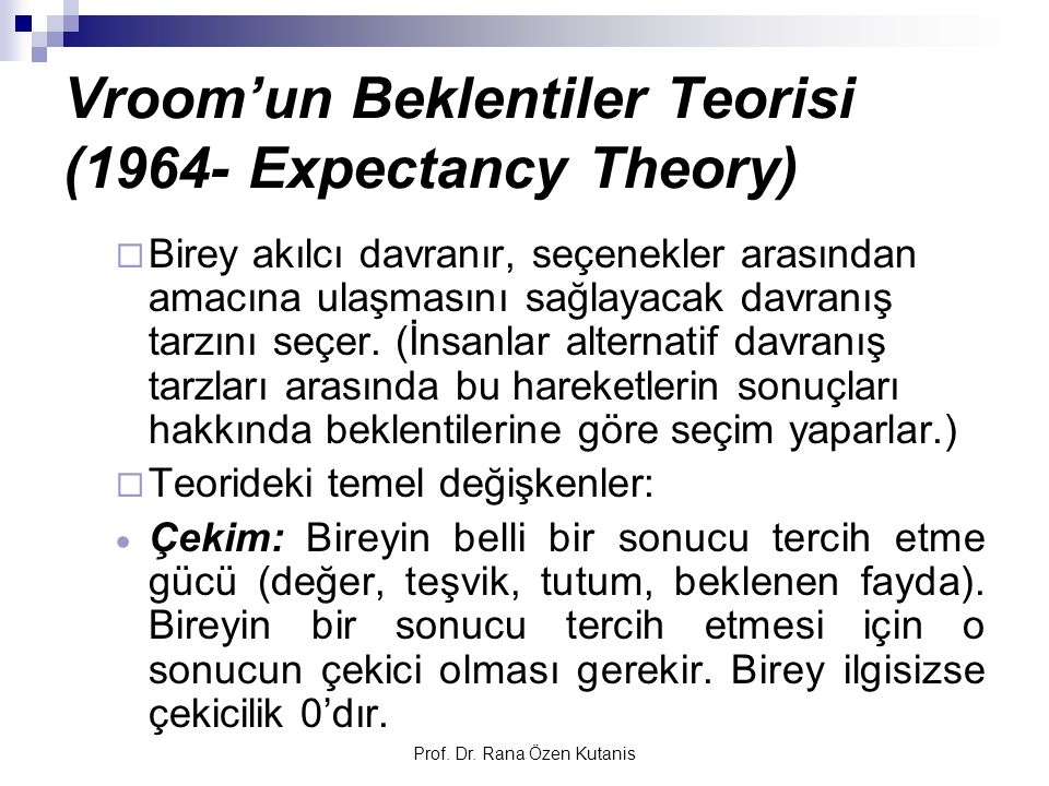 Vroom'un Beklentiler Teorisi (1964- Expectancy Theory)