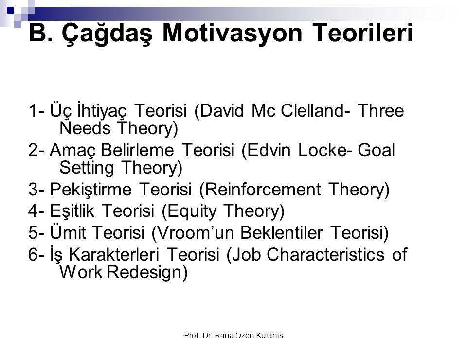 B. Çağdaş Motivasyon Teorileri