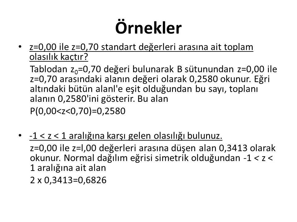 Örnekler z=0,00 ile z=0,70 standart değerleri arasına ait toplam olasılık kaçtır