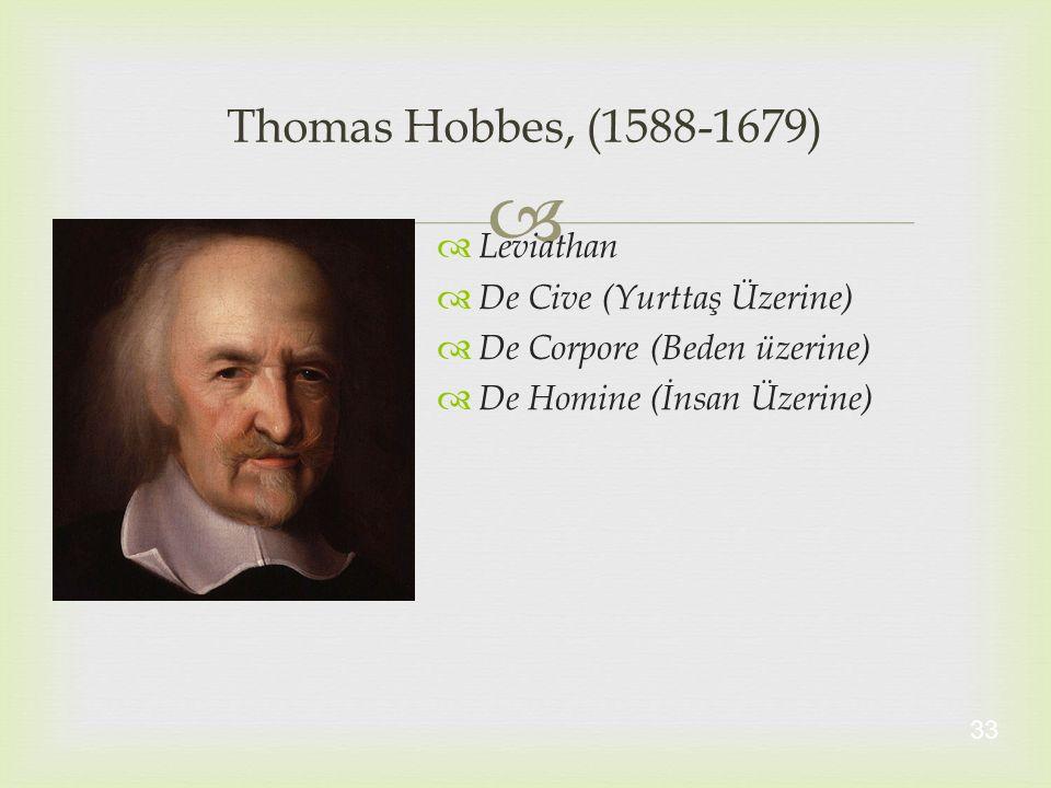 Thomas Hobbes, (1588-1679) Leviathan De Cive (Yurttaş Üzerine)