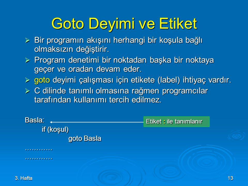 Goto Deyimi ve Etiket Bir programın akışını herhangi bir koşula bağlı olmaksızın değiştirir.