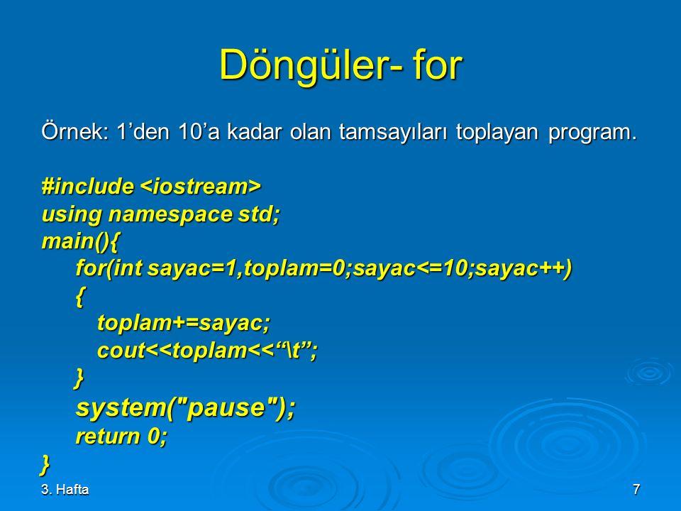 Döngüler- for system( pause );