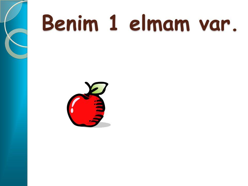 Benim 1 elmam var.
