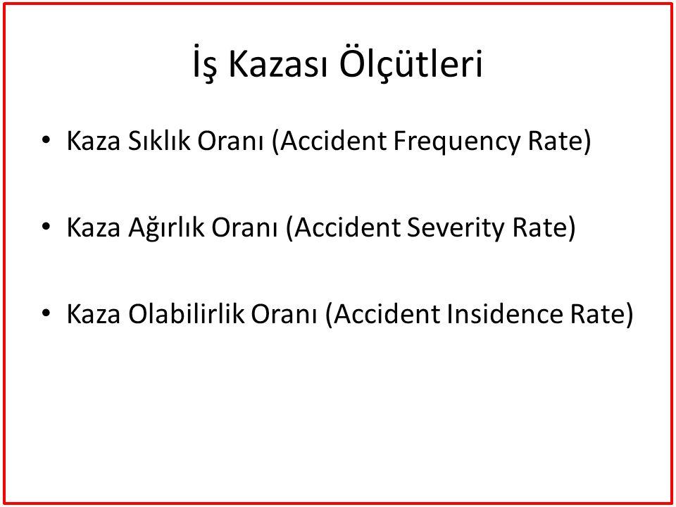 İş Kazası Ölçütleri Kaza Sıklık Oranı (Accident Frequency Rate)