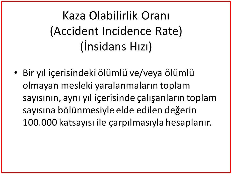 Kaza Olabilirlik Oranı (Accident Incidence Rate) (İnsidans Hızı)