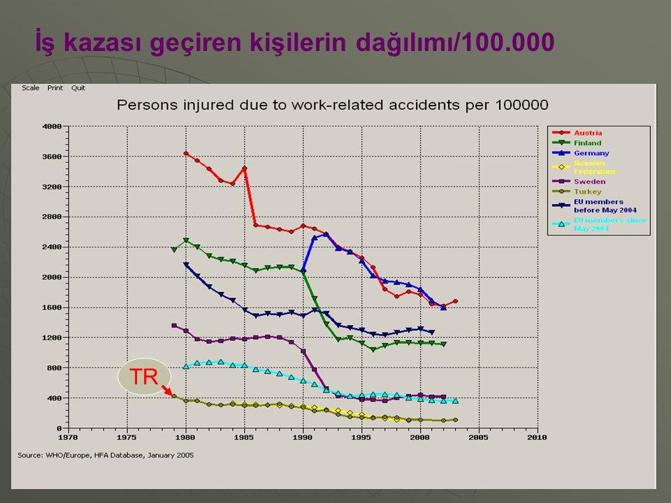 İş kazası geçiren kişilerin dağılımı/100.000