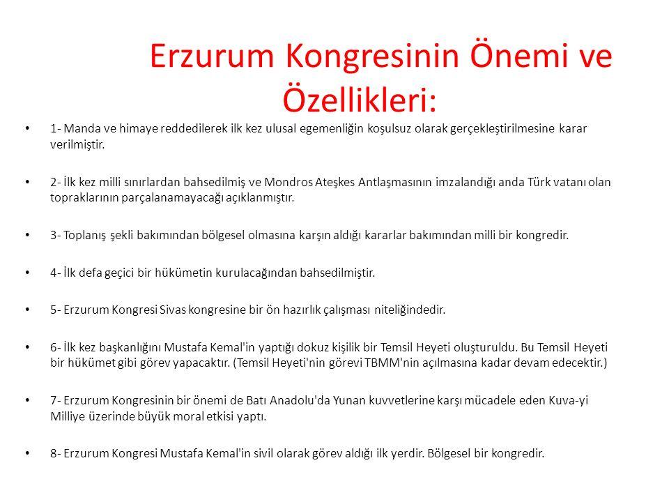 Erzurum Kongresinin Önemi ve Özellikleri: