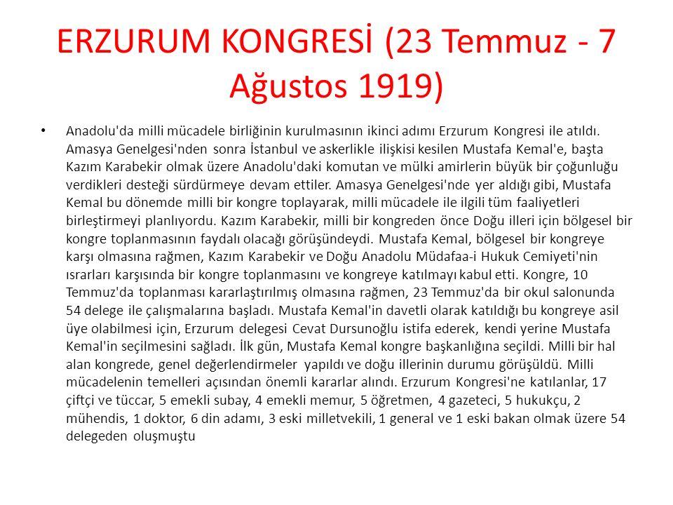 ERZURUM KONGRESİ (23 Temmuz - 7 Ağustos 1919)