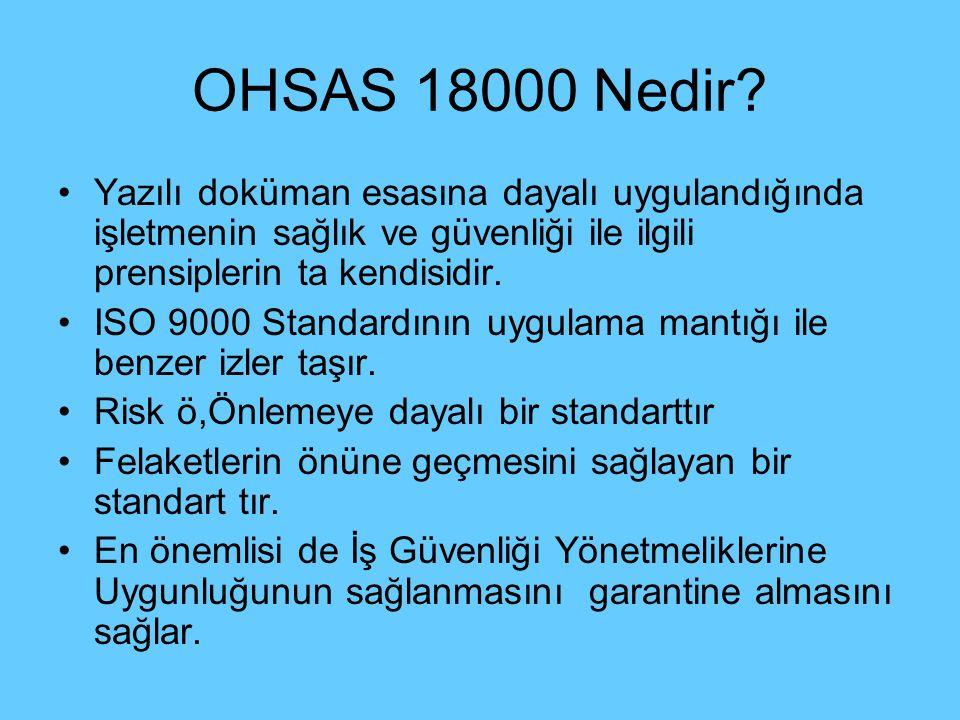 OHSAS 18000 Nedir Yazılı doküman esasına dayalı uygulandığında işletmenin sağlık ve güvenliği ile ilgili prensiplerin ta kendisidir.