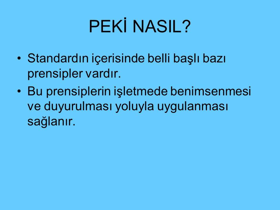 PEKİ NASIL Standardın içerisinde belli başlı bazı prensipler vardır.