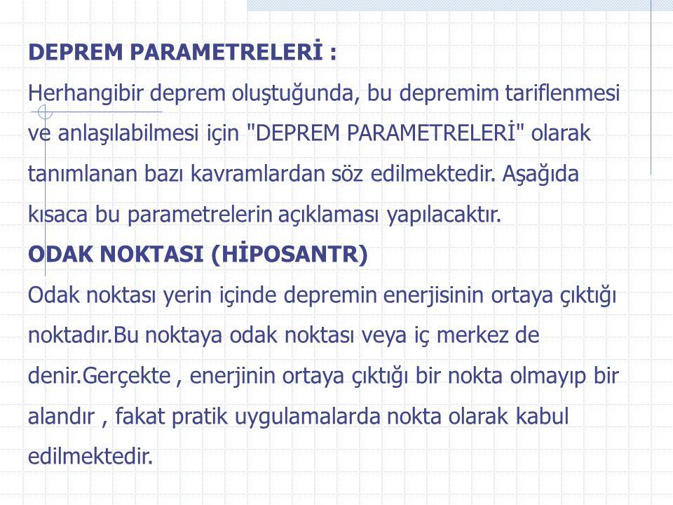 DEPREM PARAMETRELERİ :