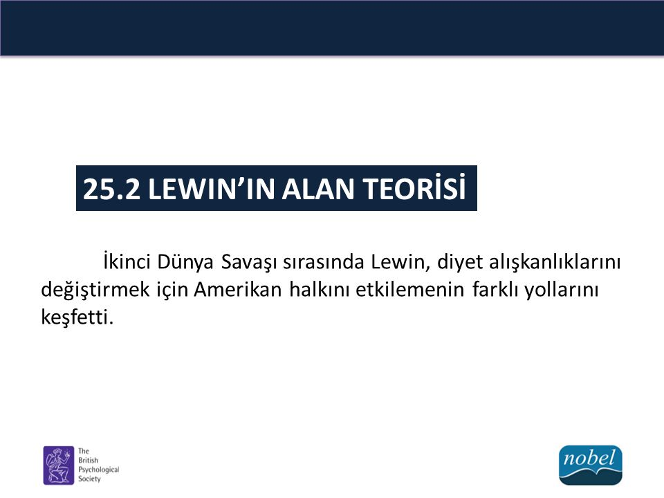 25.2 LEWIN'IN ALAN TEORİSİ