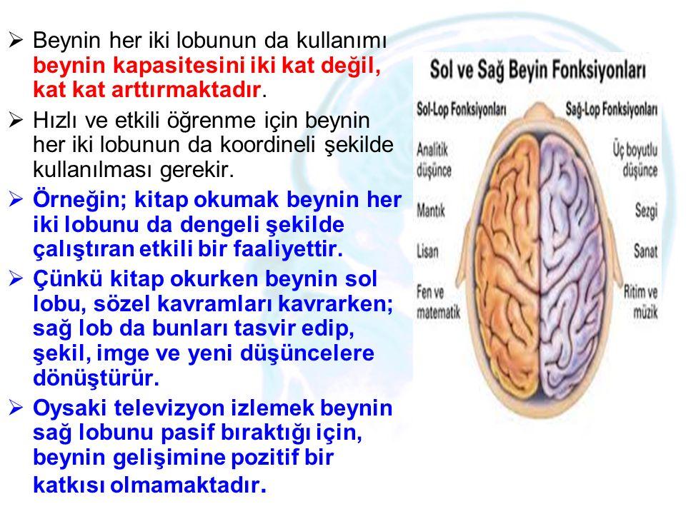 Beynin her iki lobunun da kullanımı beynin kapasitesini iki kat değil, kat kat arttırmaktadır.