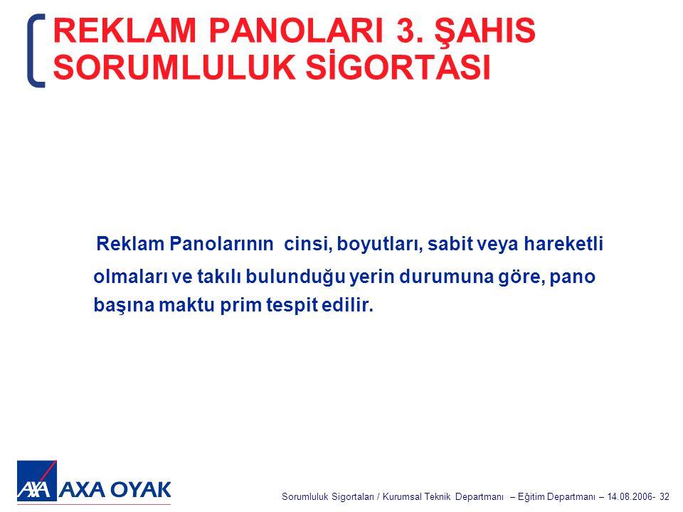 REKLAM PANOLARI 3. ŞAHIS SORUMLULUK SİGORTASI