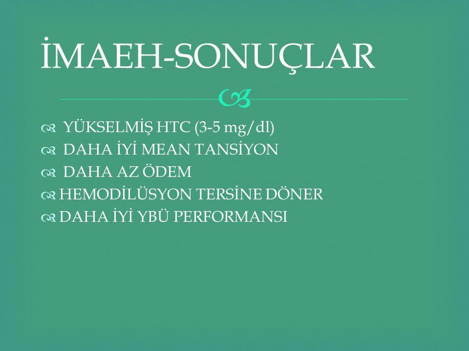 İMAEH-SONUÇLAR YÜKSELMİŞ HTC (3-5 mg/dl) DAHA İYİ MEAN TANSİYON