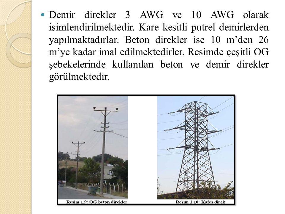 Demir direkler 3 AWG ve 10 AWG olarak isimlendirilmektedir