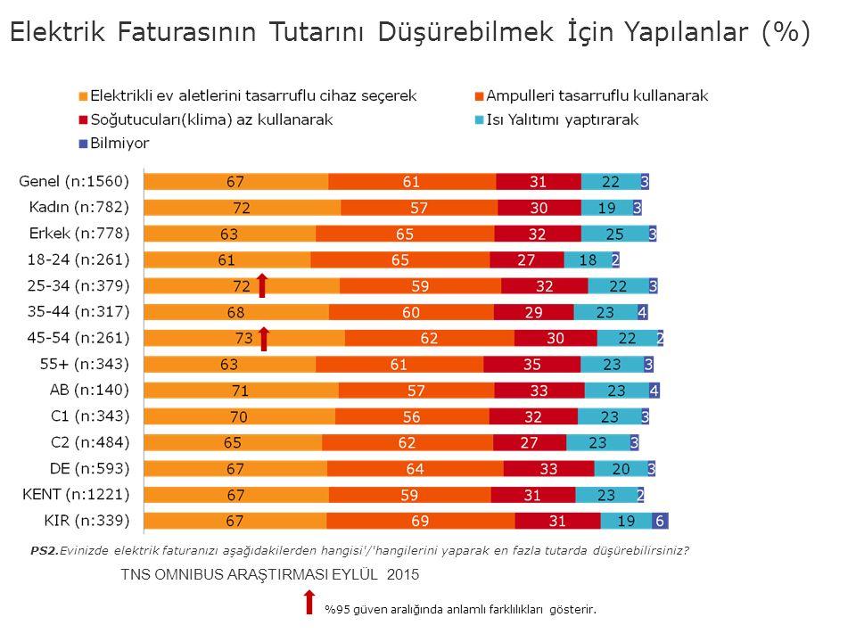 Elektrik Faturasının Tutarını Düşürebilmek İçin Yapılanlar (%)