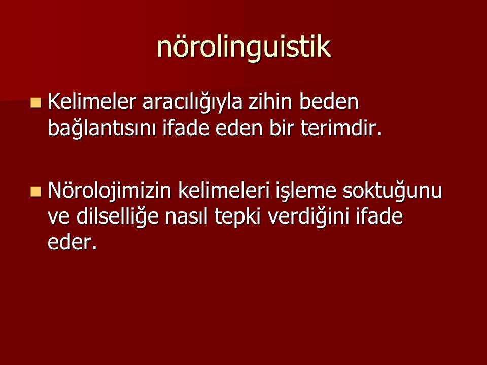 nörolinguistik Kelimeler aracılığıyla zihin beden bağlantısını ifade eden bir terimdir.