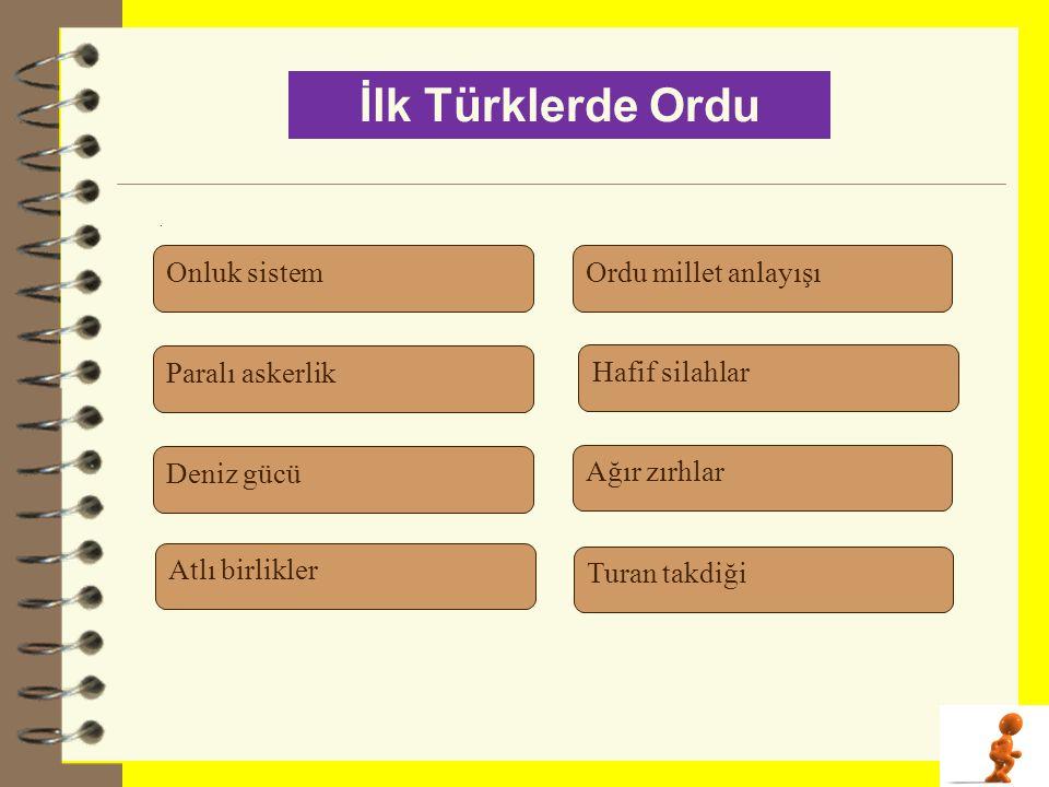İlk Türklerde Ordu Onluk sistem Ordu millet anlayışı Paralı askerlik