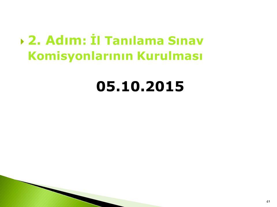 2. Adım: İl Tanılama Sınav Komisyonlarının Kurulması