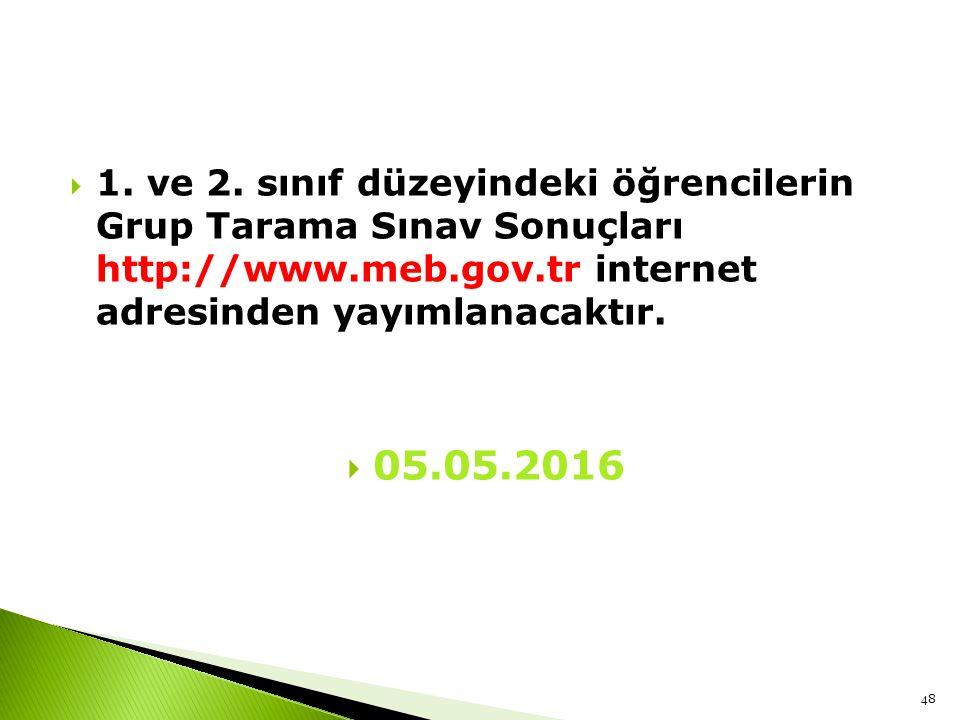 1. ve 2. sınıf düzeyindeki öğrencilerin Grup Tarama Sınav Sonuçları http://www.meb.gov.tr internet adresinden yayımlanacaktır.