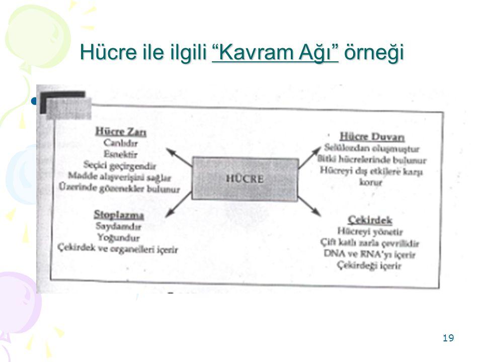 Hücre ile ilgili Kavram Ağı örneği
