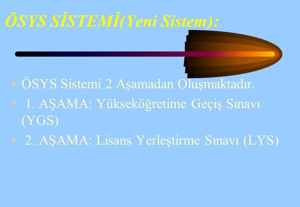 ÖSYS SİSTEMİ(Yeni Sistem):