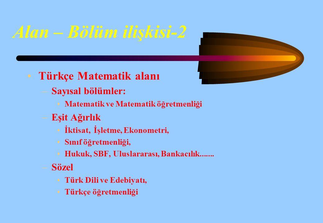 Alan – Bölüm ilişkisi-2 Türkçe Matematik alanı Sayısal bölümler: