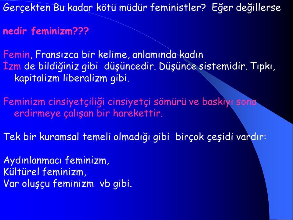 Gerçekten Bu kadar kötü müdür feministler Eğer değillerse