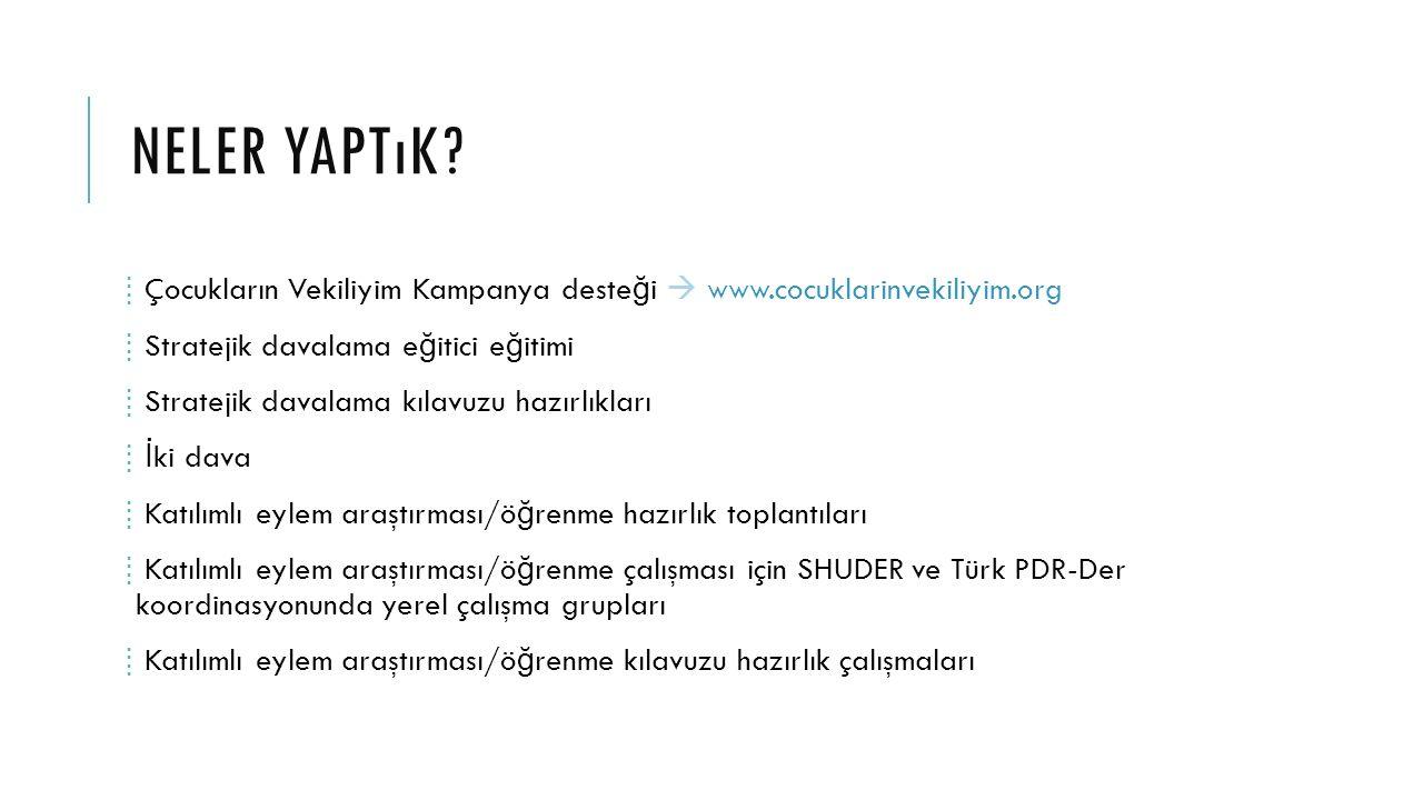 Neler yaptık Çocukların Vekiliyim Kampanya desteği  www.cocuklarinvekiliyim.org. Stratejik davalama eğitici eğitimi.