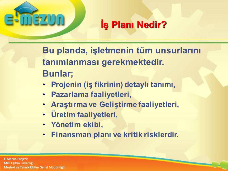 İş Planı Nedir Bu planda, işletmenin tüm unsurlarını. tanımlanması gerekmektedir. Bunlar; Projenin (iş fikrinin) detaylı tanımı,
