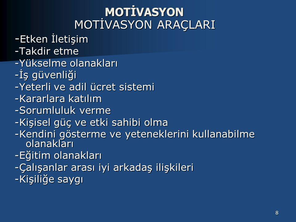 MOTİVASYON MOTİVASYON ARAÇLARI -Etken İletişim -Takdir etme
