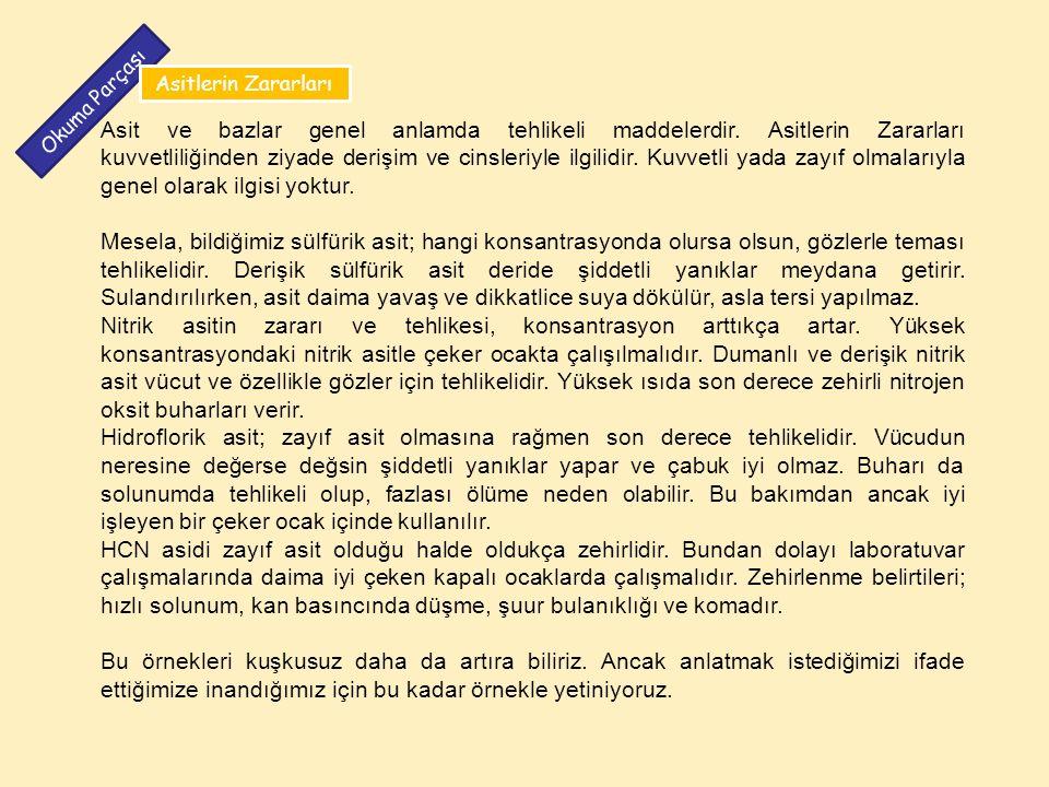 Asitlerin Zararları Okuma Parçası.