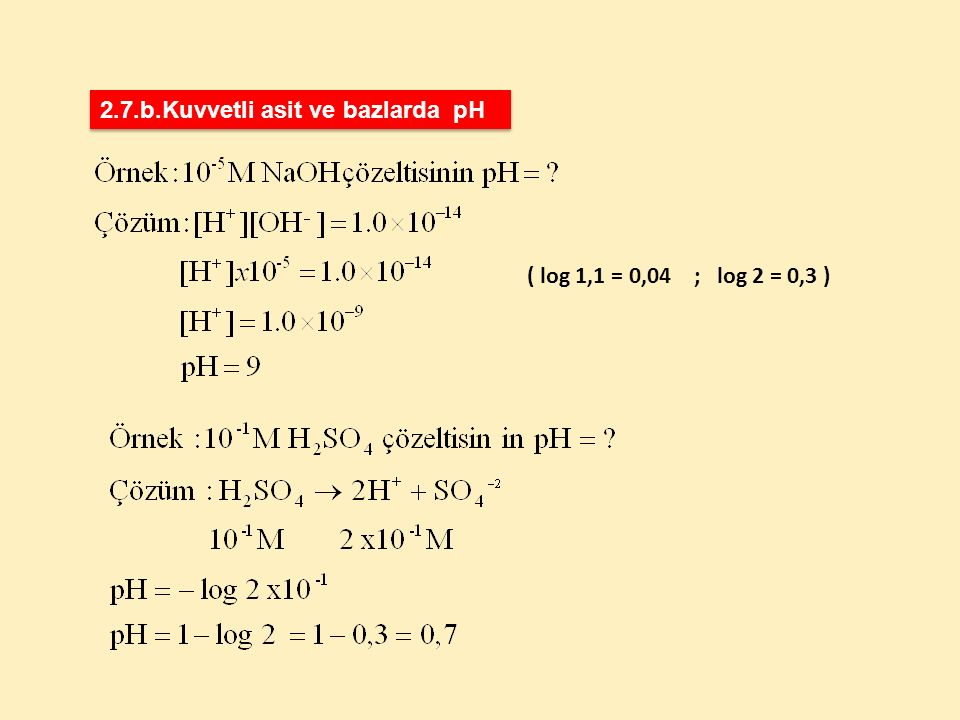 2.7.b.Kuvvetli asit ve bazlarda pH
