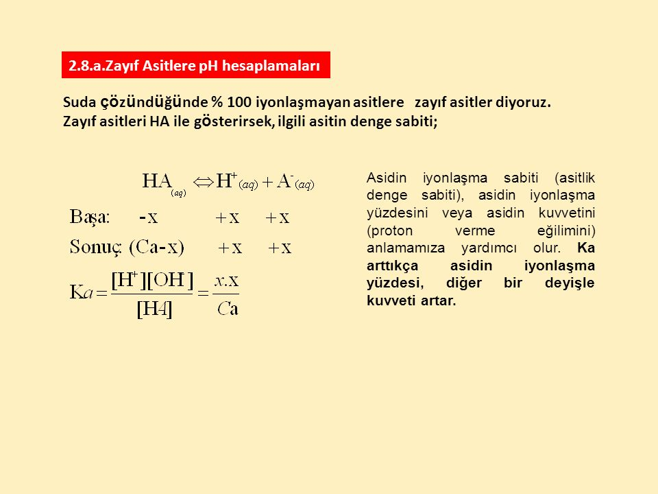 2.8.a.Zayıf Asitlere pH hesaplamaları