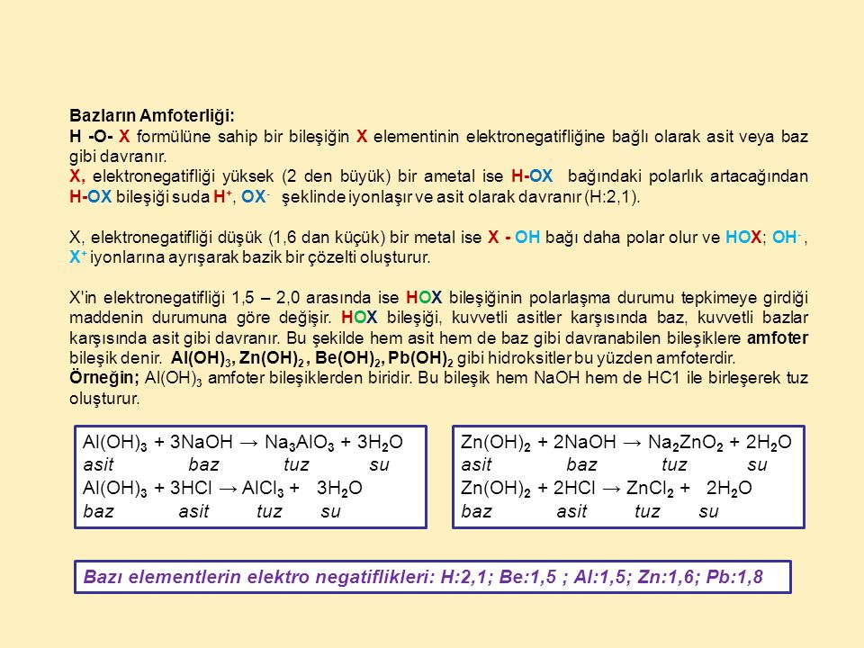 Al(OH)3 + 3NaOH → Na3AlO3 + 3H2O asit baz tuz su