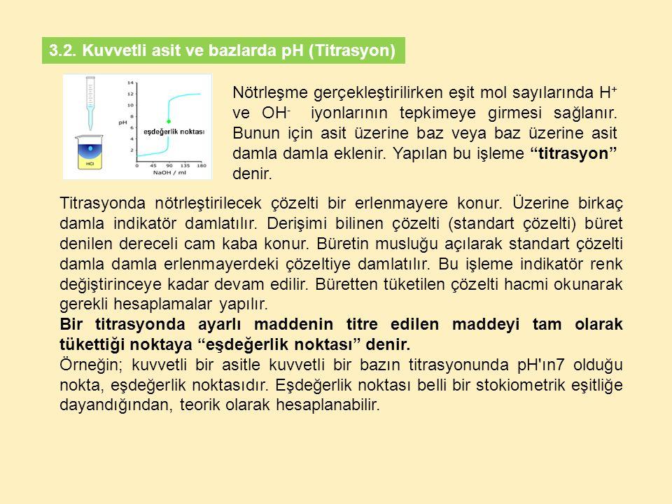 3.2. Kuvvetli asit ve bazlarda pH (Titrasyon)