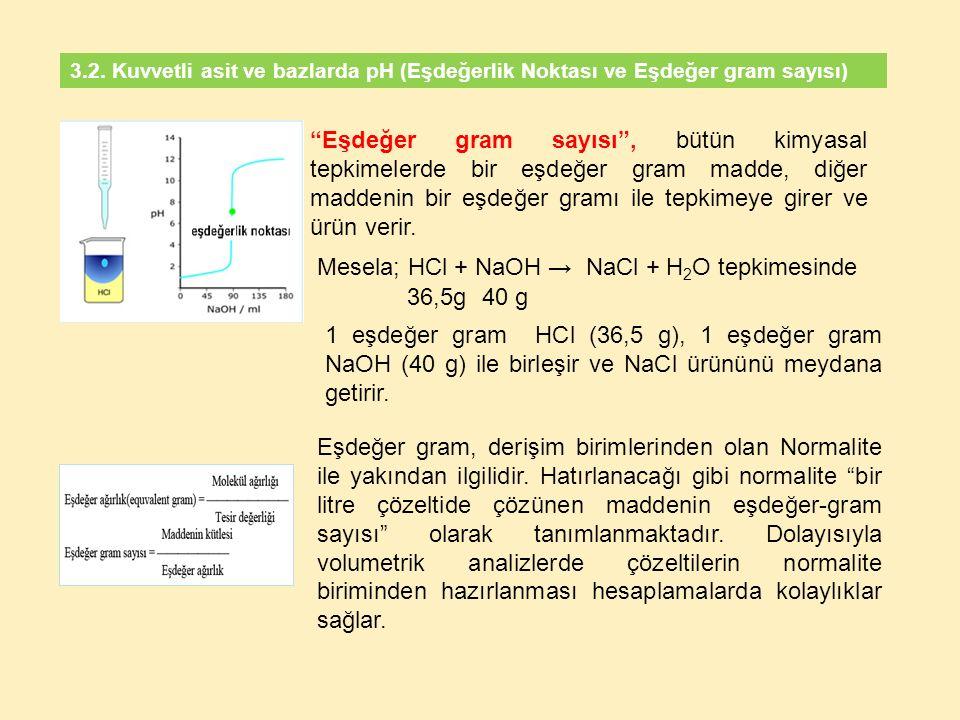 Mesela; HCl + NaOH → NaCl + H2O tepkimesinde