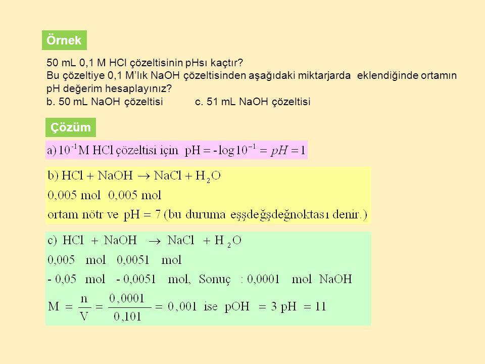 Örnek Çözüm 50 mL 0,1 M HCl çözeltisinin pHsı kaçtır