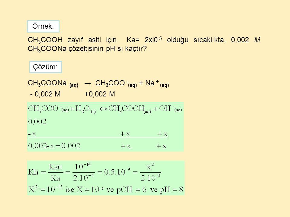 Örnek: CH3COOH zayıf asiti için Ka= 2xl0-5 olduğu sıcaklıkta, 0,002 M CH3COONa çözeltisinin pH sı kaçtır