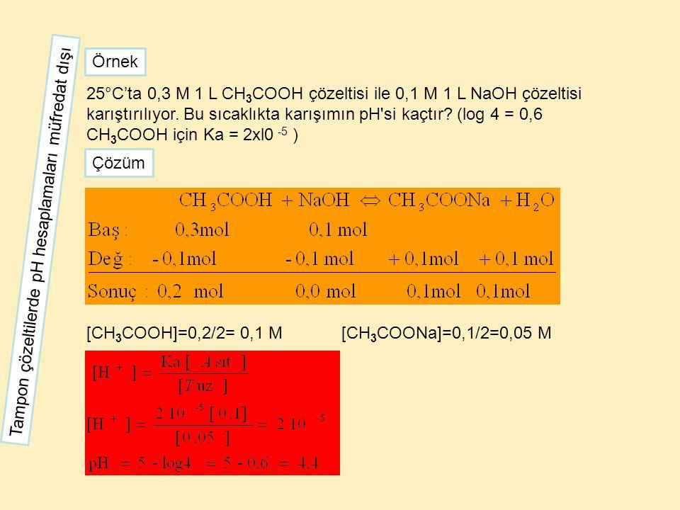 Örnek 25°C'ta 0,3 M 1 L CH3COOH çözeltisi ile 0,1 M 1 L NaOH çözeltisi.
