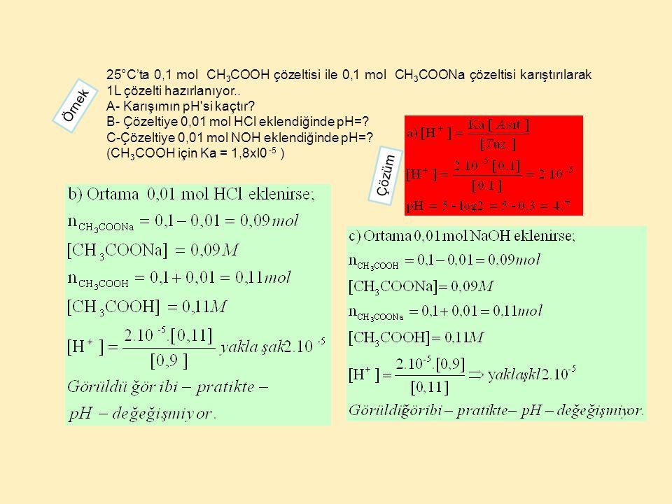 25°C'ta 0,1 mol CH3COOH çözeltisi ile 0,1 mol CH3COONa çözeltisi karıştırılarak 1L çözelti hazırlanıyor..