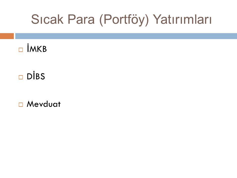 Sıcak Para (Portföy) Yatırımları