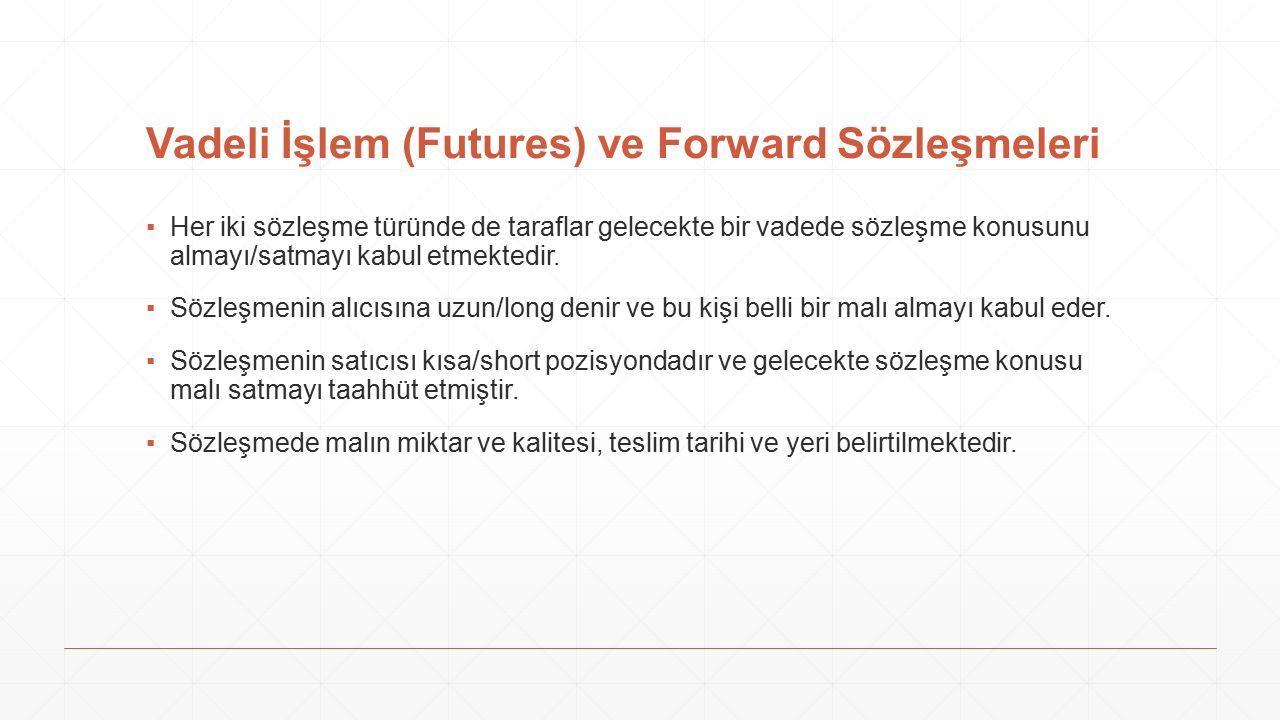 Vadeli İşlem (Futures) ve Forward Sözleşmeleri