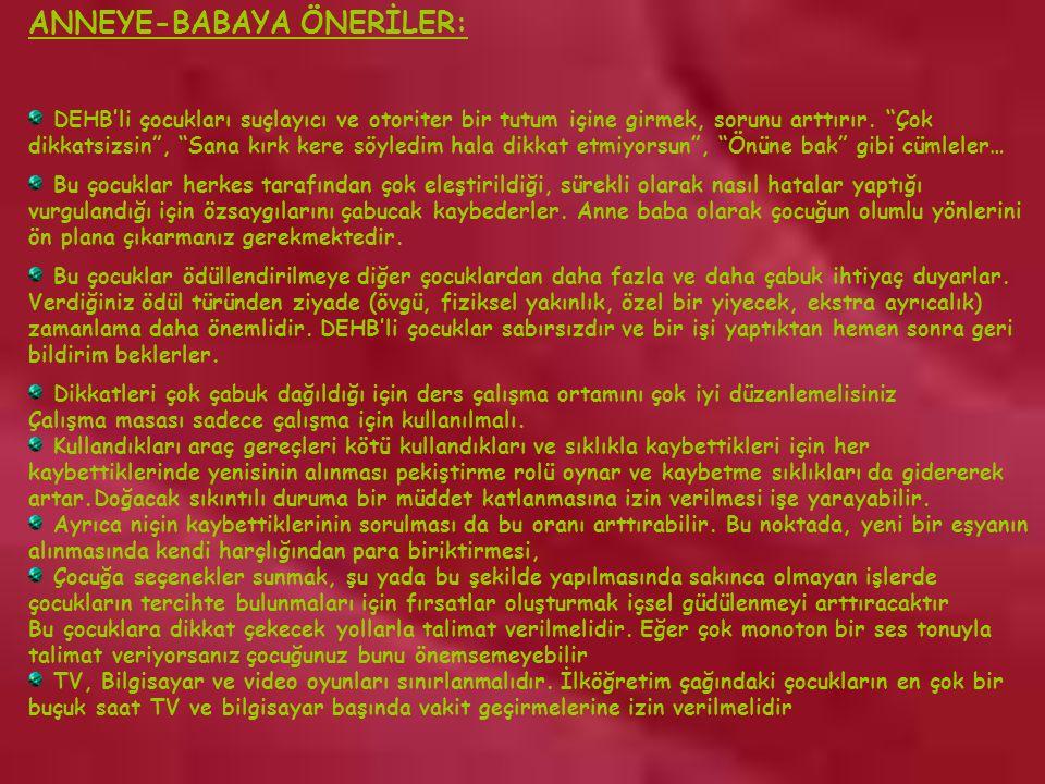 ANNEYE-BABAYA ÖNERİLER: