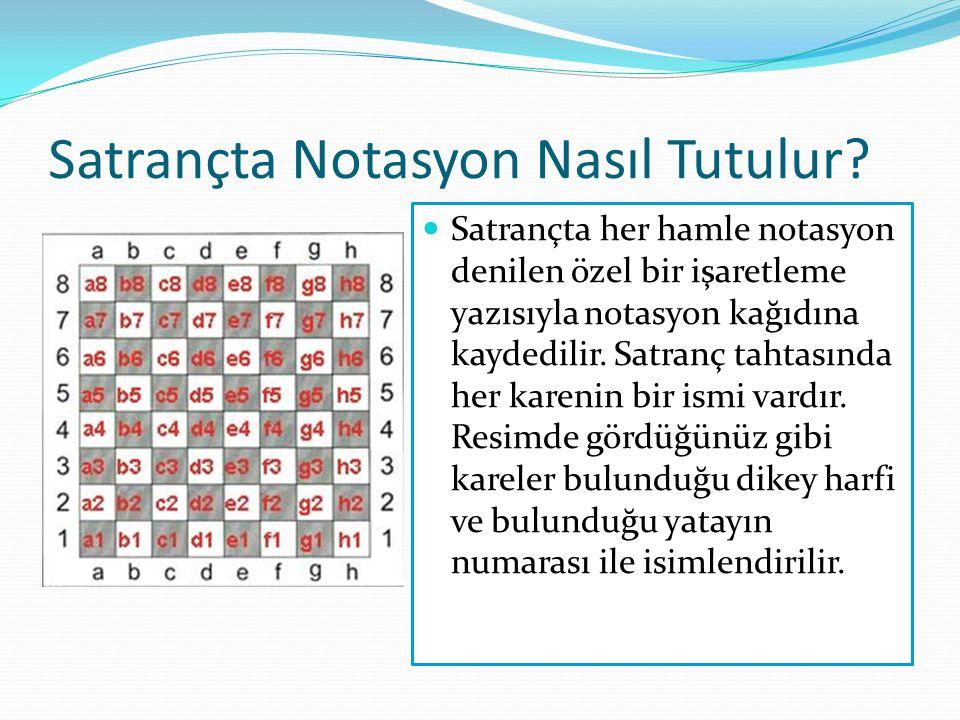 Satrançta Notasyon Nasıl Tutulur