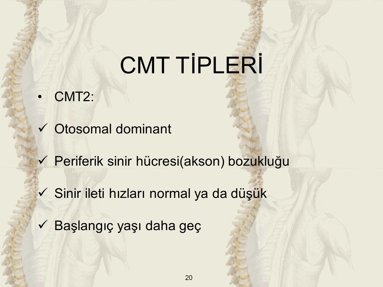 CMT TİPLERİ CMT2: Otosomal dominant