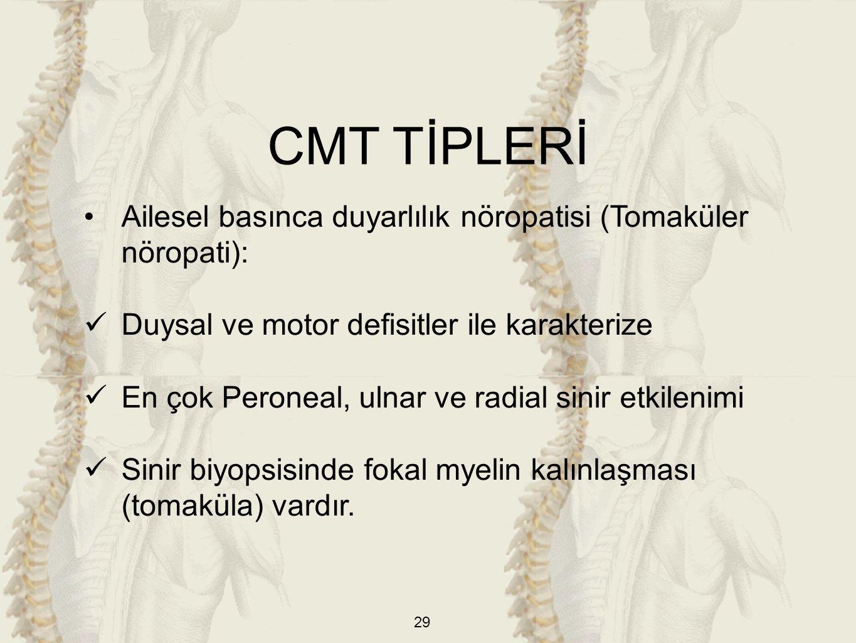 CMT TİPLERİ Ailesel basınca duyarlılık nöropatisi (Tomaküler nöropati): Duysal ve motor defisitler ile karakterize.